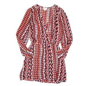 Parker Silk Faux Wrap Red Blue Geometric Dress